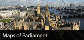 Maps of Parliament - Visitors from the UK and overseas can book tickets for guided tours of the Houses of Parliament that run on Saturdays throughout the year and on selected weekdays during Parliamentary recesses. The tours are led by highly qualified and knowledgeable 'Blue Badge' guides and take approximately 75 minutes.