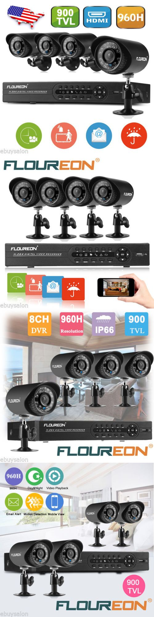 Surveillance Security Systems: 8Ch 960H Cctv Dvr+ 4 X 900Tvl Waterproof Onvif Ir-Cut Camera Security System Kit BUY IT NOW ONLY: $85.99