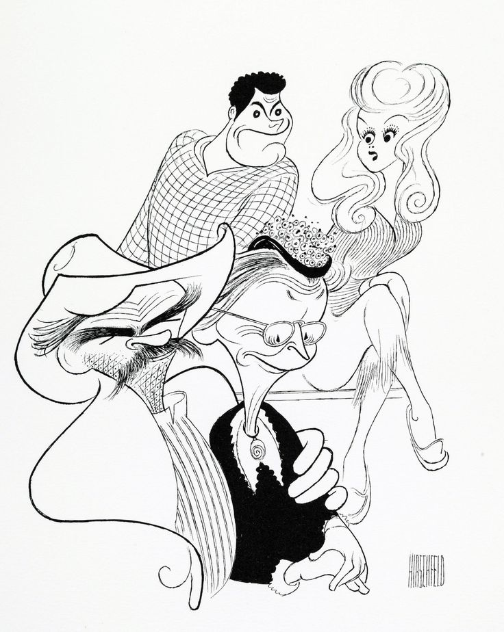 "Al Hirschfeld ~ Buddy Ebsen, Irene Ryan, Max Baer, Jr., and Donna Douglas in ""The Beverly Hillbillies"""