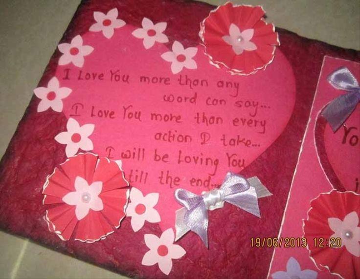 Quilled Valentine Card Handmade Love Greeting Card Bright Pink – Valentine Card 2015