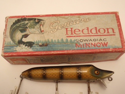 Antique heddon dowagiac minnow vamp lure 7500m with box for Heddon antique fishing lures