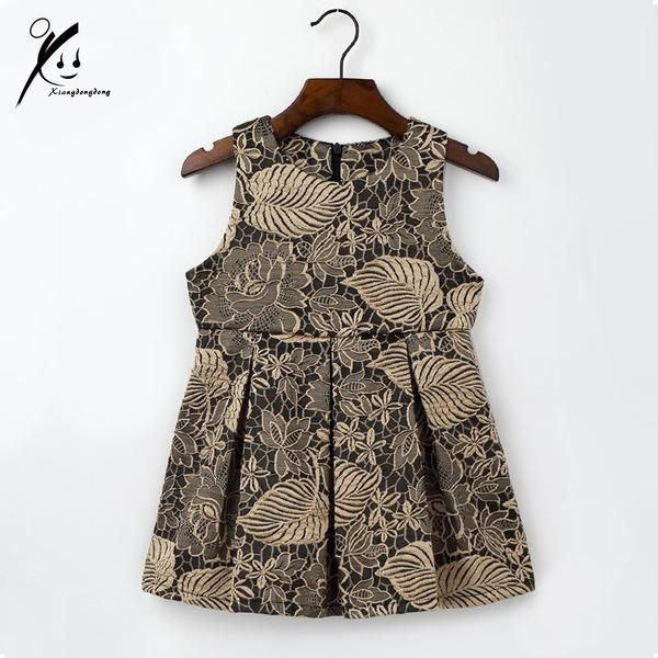 Department Name: ChildrenGender: GirlsDresses Length: Knee-LengthSilhouette: A-LineBrand Name: xiangdongdongFit: Fits true to size, take your normal sizeDecoration: FlowersModel Number: XDD-L1002Sleeve Style: RegularBuilt-in Bra: NoCollar: Crew NeckSleeve Length(cm): SleevelessMaterial: Spandex,Tribute Silk,CottonStyle: FormalPattern Type: Print