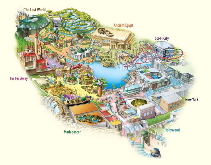 Карта - схема Singapore Universal Studio на острове #Сентоза. #ПаркРазвлечений #Сингапур