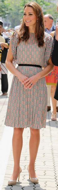 Kate Middleton: Skirt and shirt - Raoul Shoes - L.K. Bennett Raoul Tara top Raoul Silk print pleated skirt same shoes different colors L.K. Bennett 'Sledge' Pump