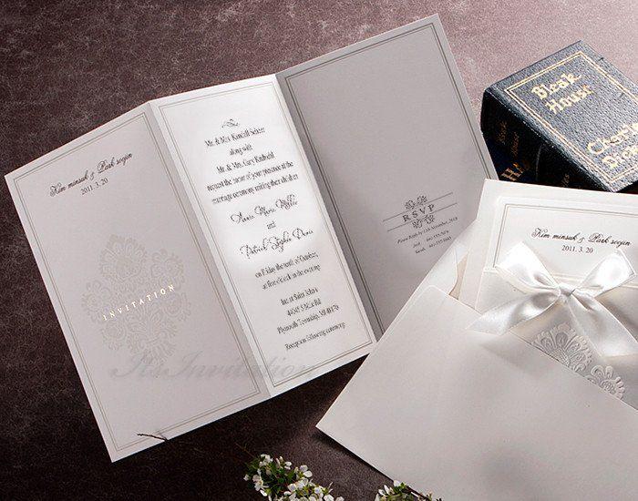 White Pocket Victorian Wedding Invitation   GA 1013 | ItsInvitation