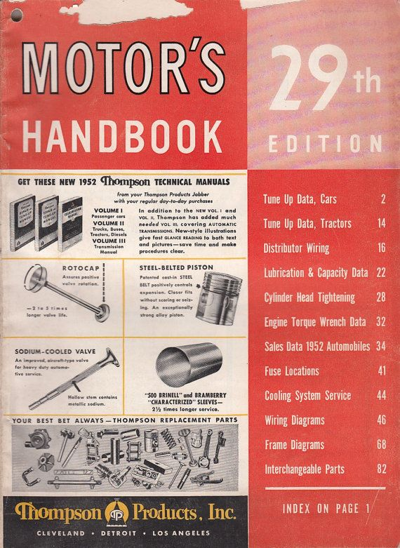 1952 Motor's Handbook 29th Edition Car Tune-Up Wiring Data Interchangeable Parts