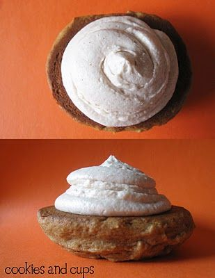 Apple butter whoopie pies with cinnamon buttercream icing. Yum!