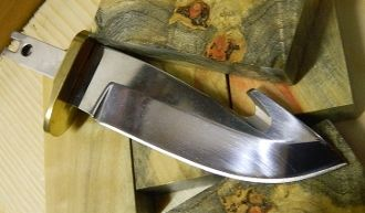 """Cherokee Classic Utility Knife Blank Carion Hidden Tang Guthook  440 S/S, HRC 57-58  Mirror polished and sharpened Overall: 5 1/2"""" - Blade: 3 1/2"""" Slotted brass guard - Thickness: 4.0mm"""