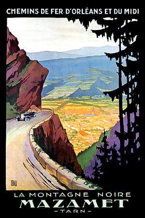 The Black Mountain Mazamet, Tarn, France c.1920s http://www.vintagevenus.com.au/products/vintage_poster_print-tv184