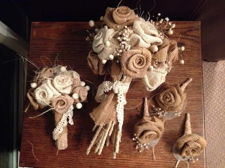 Rustic wedding bouquet made from burlap
