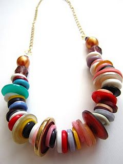 Retro button necklace #tutorial - this idea could include other bits and pieces - check your hubbies tool box for bits of metal, washers/nuts etc