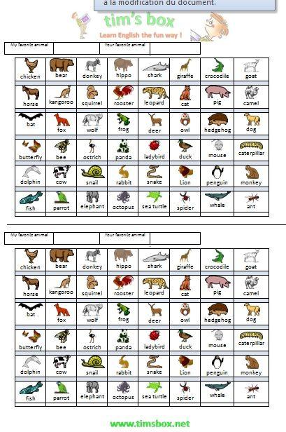 Classroom games animals what is it devinez un animal for Anglais vocabulaire maison