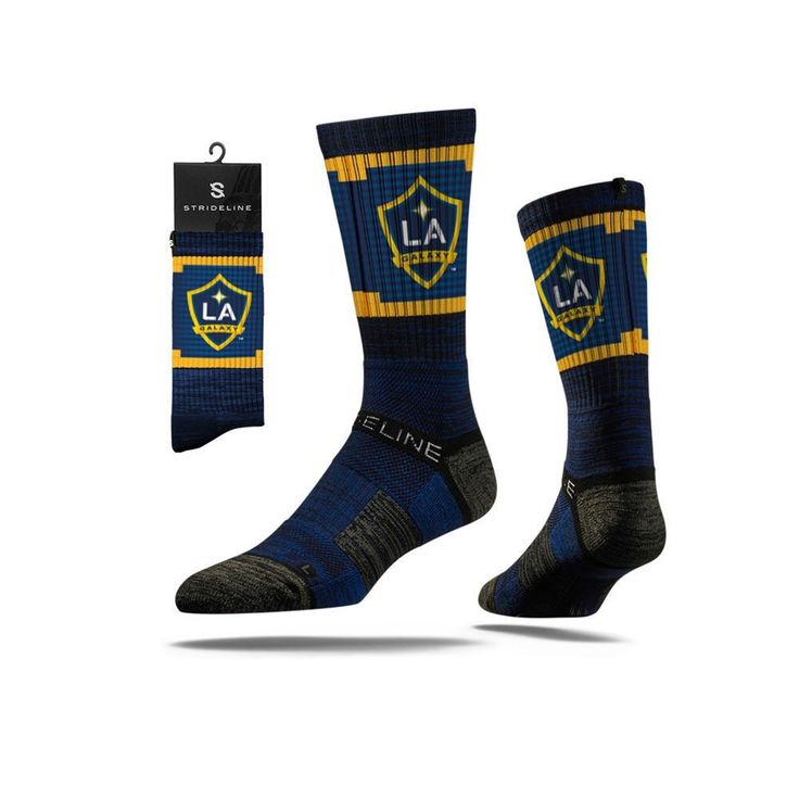 Description: Collegiate 2.0 MLS LA Galaxy Blue in Navy–Gold The New STRIDELINE Strapped Fit 2.0 is the most comfortable sock in the world. Sweat Wicking Select Terry pads coupled with our patented Hee