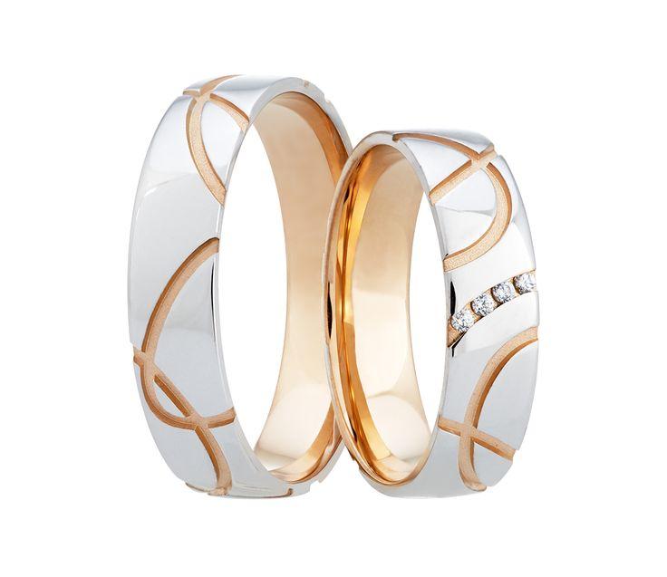 Vybočte z řady se snubními prsteny, jejichž netradiční povrch kombinuje červené a bílé zlato.