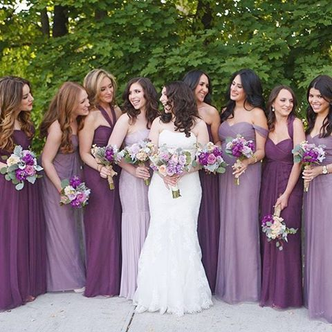 Gorgeous Bridal Party in a mix of Raisin + Lilac Willow #jycwillow and Annabelle #jycannabelle dresses | Florals by @dark_and_diamond | Photo: Catherine Leonard Photography @roundhousebeacon | Regram by ™@dark_and_diamond