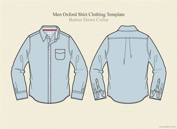 Men Oxford Shirt Clothing Template by VecFashion on @creativemarket
