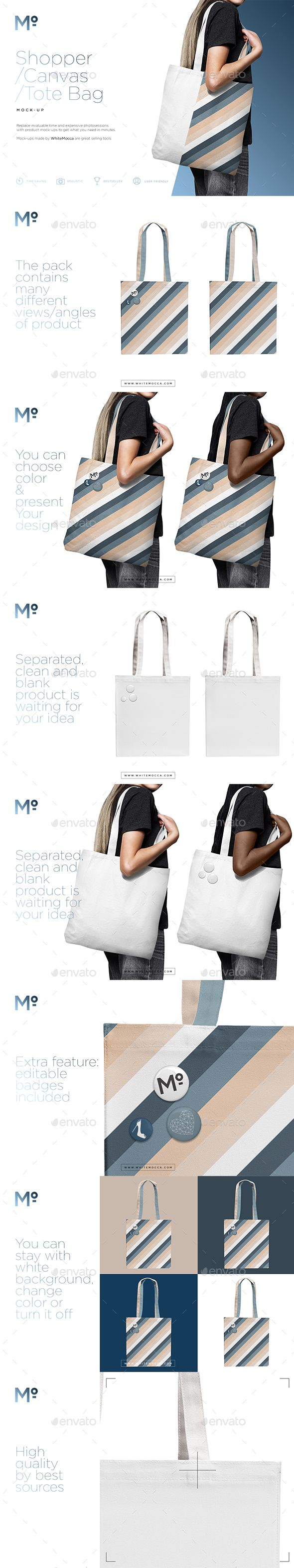 Canvas Shopper / Tote Bag Mock-up - Miscellaneous Product #Mock-Ups Download here:  https://graphicriver.net/item/canvas-shopper-tote-bag-mockup/19545823?ref=alena994