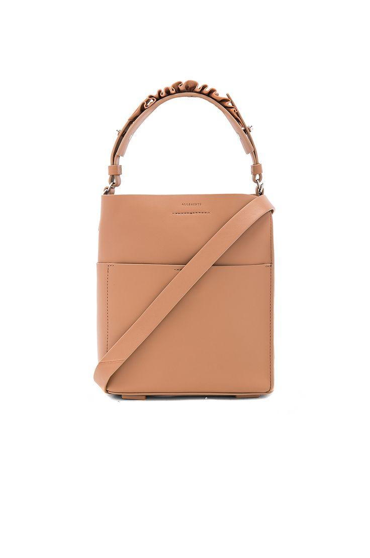 ALLSAINTS Maya Mini Tote. #allsaints #bags #shoulder bags #hand bags #leather #tote #lining #