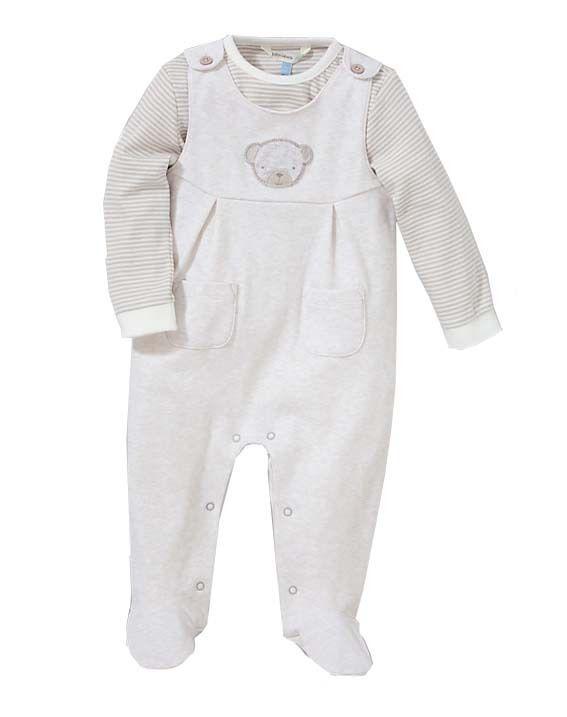 John Lewis Baby Girls Dungarees T Shirt Pram Suit Cotton Beige 9-12 Months