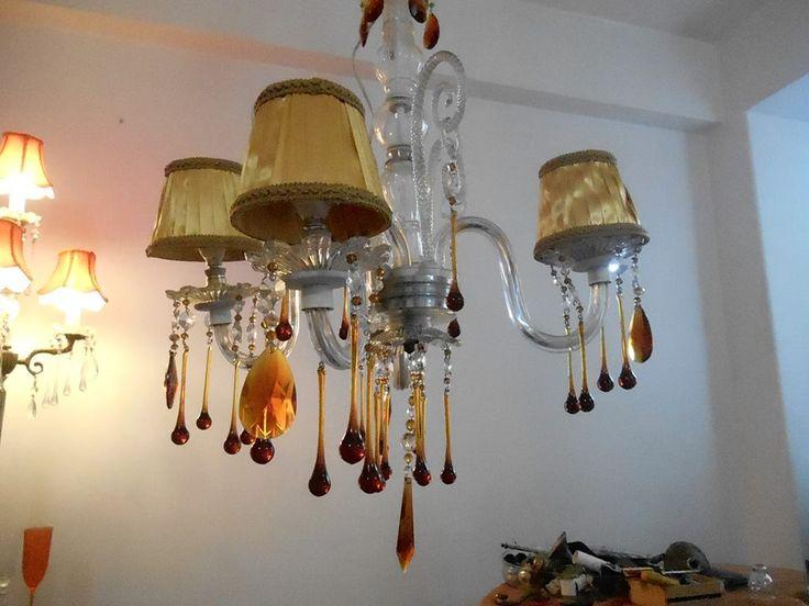 LAMPARA DE LAGRIMAS COLOR CHOCOLATE AMBAR.. 4 LUCES  DISPONIBLE!