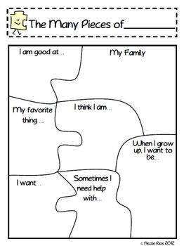 """This activity is included with 5 other great Back-To-School activities in my """"Getting to Know You Activities Pack"""". - available in my store. This file includes: * 2 """"The Many Pieces of Me"""" puzzle templates * 1 blank guide template (to help little ones put puzzles back together) * Two activity suggestions for Back-To-School"""