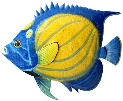 Painted Metal Blue Angelfish - Tropical Fish Wall Decor - Haitian Painted Metal Art - See more at www.Tropical-Fish-Decor.com