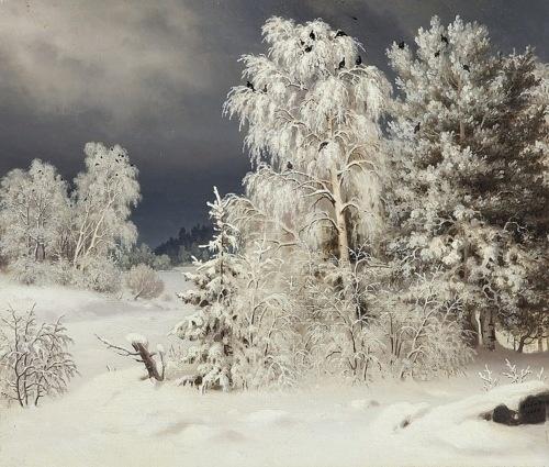 Teeriparvi lumisissa puissa - Ferdinand von Wright oil 1863 Finland