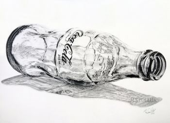 A contemporary pen and ink drawing of the classic Coca-Cola glass bottle on a white background. Perfect for adding a modern touch to any home, office or studio environment. The drawing has been made using UniPin's finest water and fade proof pigment ink on Arches 300gsm cold-press paper. This drawing is the first out of a series of 3 Coca-Cola themed artworks.