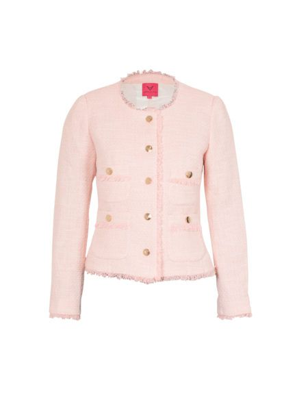 Veronica Virta Alexandra light pink jacket first worn by Crown Princess Victoria of Sweden for the cabinet meeting after the birth of Prince Alexander