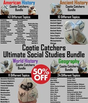 This is a bundle of all my Cootie Catchers/ Fortune Tellers across the following topics: American History, World History, Ancient History, and Geography.  Playing directions and folding Directions (with pictures) are Included.Important: All these Cootie Catchers sell for $200; as a bundle they are 50% off, for $99!There are 86 different topics, each one having multiple versions in color and black and white:United States History:       13 Colonie...