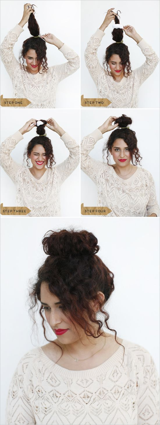 how to make a big hair bun using the soxy or just a regular sock. supe cute with curly hair and leave some bangs out too!