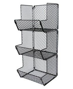 Esylife Multipurpose Wall Mount 3 Tier Bathroom Towel Basket Wire Kitchen Storage Bin Organizer Fruit Rack Stand Black