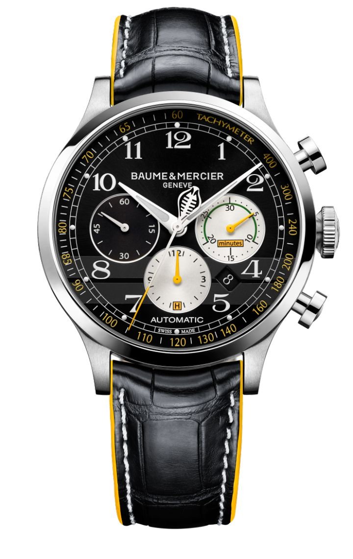 Discover the limited edition Capeland Cobra 10282 leather chronograph watch for men, with Swiss Made automatic movement, designed by Baume & Mercier, Manufacturer of Swiss Watches. #menswatchesleather