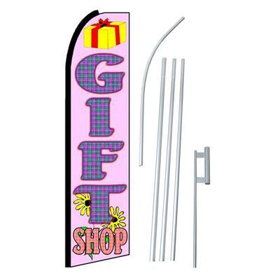 NeoPlex Gift Shop Swooper Flag and Flagpole Set