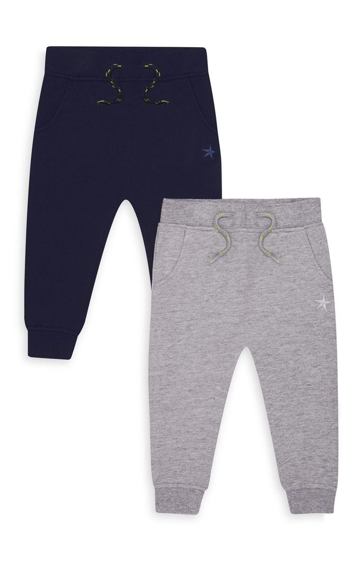 Primark - Lot de 2 joggings gris/bleu bébé garçon