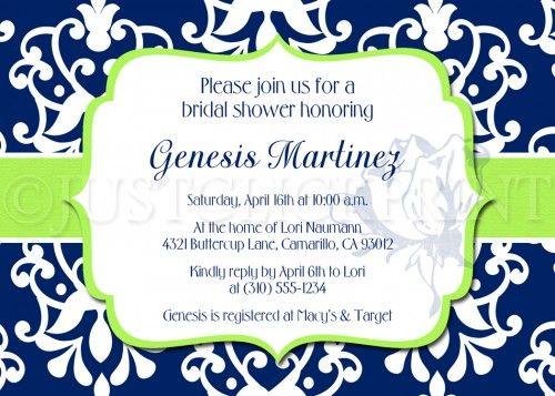 Royal Blue Lime Green Bridal Shower Birthday Invitation