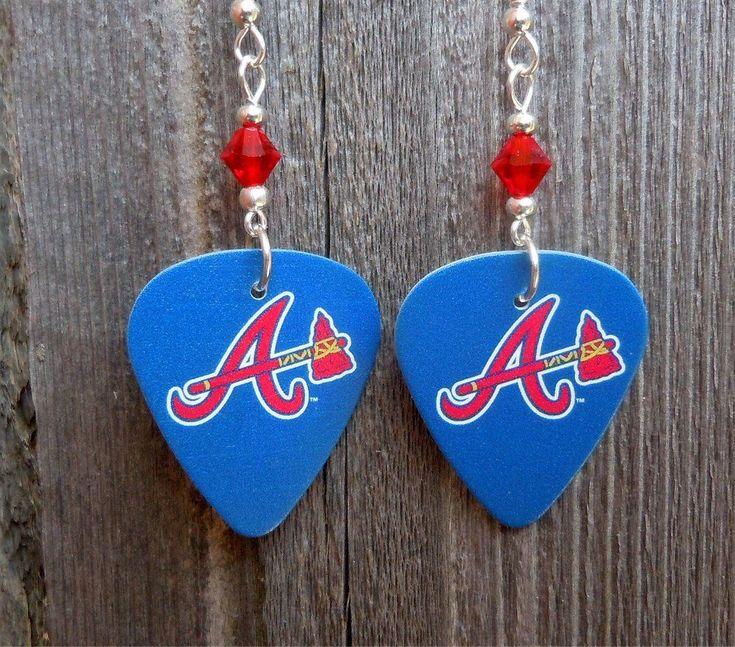 Mlb atlanta braves guitar pick earrings with red swarovski