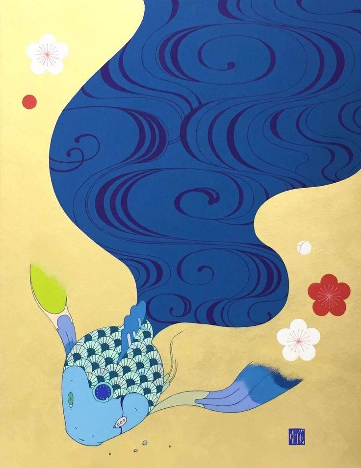 安岡亜蘭 yurari P10号 アクリル、雲肌和紙