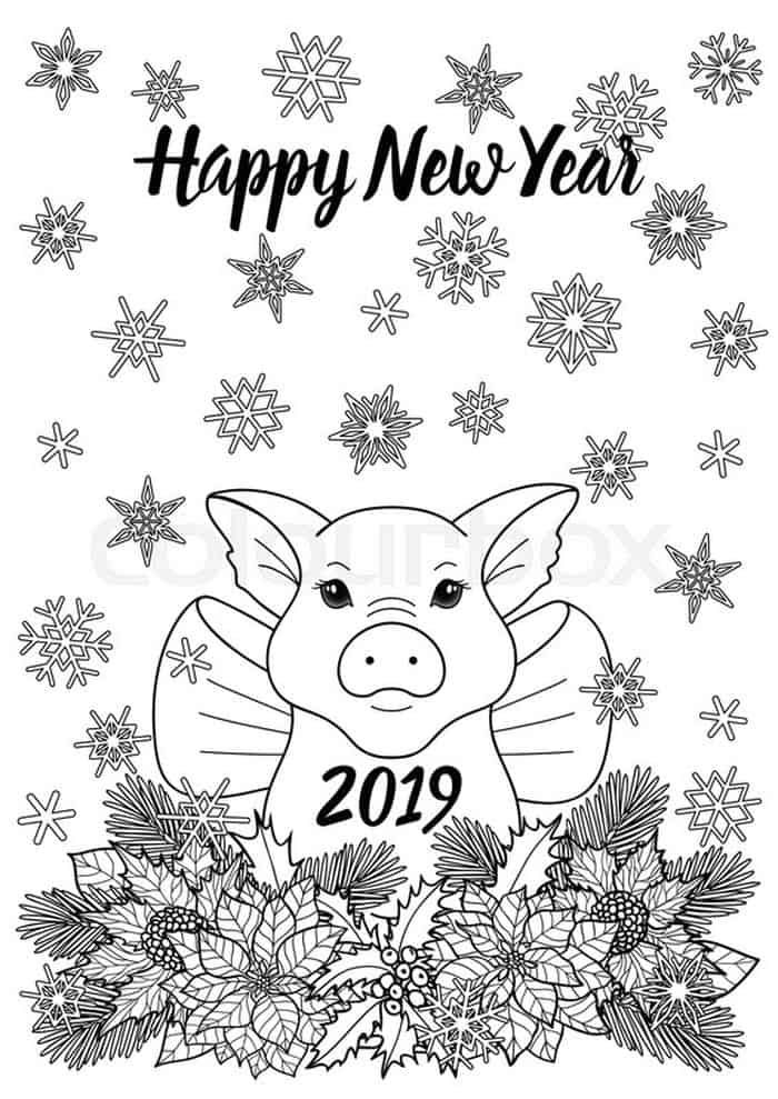 Chinese New Year Pig Coloring Pages From Chinese New Year Coloring