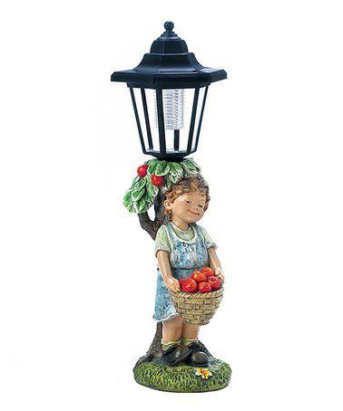 Look at this #zulilyfind! Apple Basket Solar-Powered Street Light Statue #zulilyfinds