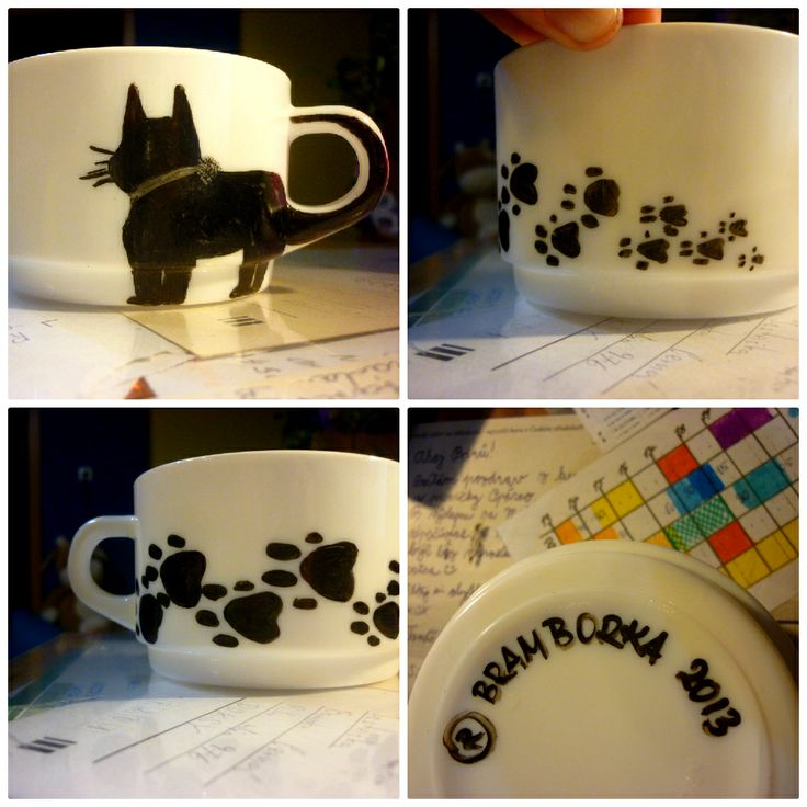 "#cute #christmaspresent for my #loving #mummy:-) our surname ""Černá"" means ""Black"" therefor #blackcat:-) #cup #DIY / #Vanocnidarek #promaminku - Černá kočka pro černou kočku♥"