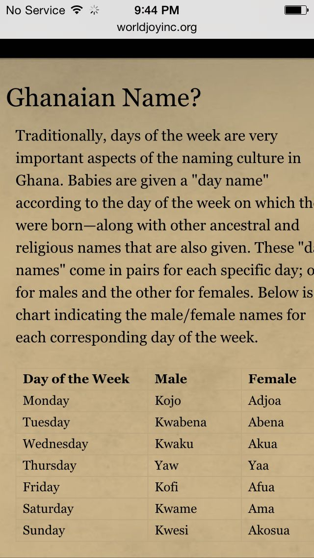 What's your Ghanaian name ?