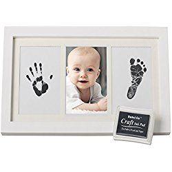 BEAUTIFUL BABY HANDPRINT & FOOTPRINT FRAME KEEPSAKE KIT for Boys, Girls, & Infants, Babyprints Paper & Ink Pad, 4 x 6 Photo Window, Premium Wood Frame, Decor for Room Wall, Amazing Baby Shower Gifts!