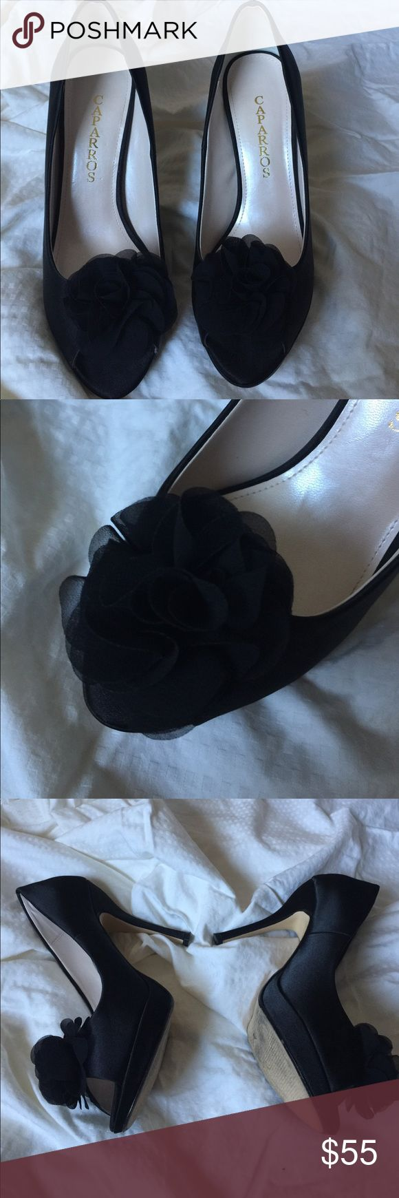 Caparros Black Peep Toe Heels Beautiful black peep toe pumps with flower detail on the toe only worn once comes in original box size 8 Shoes Heels