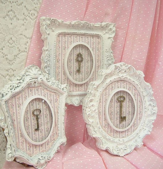 #Shabby frames with old keys & pretty pink matts.