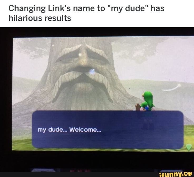 "Everybody gets a meme Changing Link's name ""my dude"" has hilarious results my dude... welcome..."