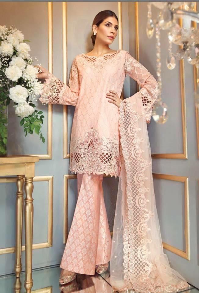 5ba0da4b65 Buy Pakistani Designer Anaya Net Chiffon Dress in Baby Pink Color Online at  Nameera by Farooq, Beautiful Chiffon Dress by Anaya in Light Pink Color  work ...
