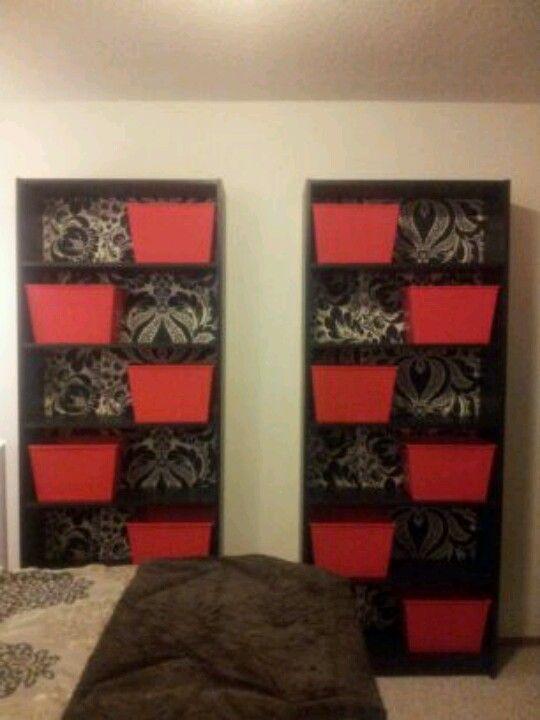 Ikea Billy Bookcases, Damask Black Silver Wallpaper Custom Back, Red  Plastic Storage Bins.