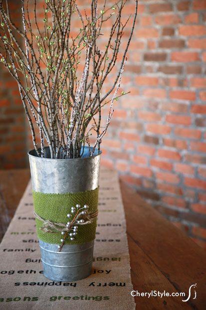 DIY natural twig centerpiece  |  CherylStyle.com
