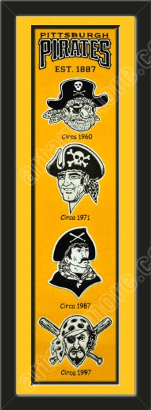 This framed Pittsburgh Pirates heritage banner, double matted in team colors to 8 x 32 inches.  $119.99 @ ArtandMore.com